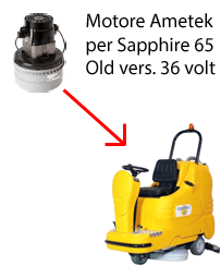 Sapphire 65 36 volt (OLD) Motore Ametek aspirazione lavapavimenti Adiatek