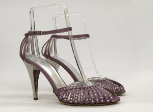 Scarpa donna elegante da sposa e cerimonia  in raso con applicazioni in cristallo svarovsky  e tacco specchio Guido La Rocca cod.G682