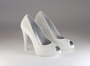 Scarpa donna elegante da sposa e cerimonia in pelle bianca Giudo La Rocca cod.G870