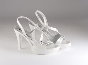 Scarpa donna elegante da sposa e cerimonia in pelle tessuto e cristalli svarovsky bianco Giudo La Rocca cod.G847