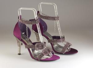 Sandalo elegante cerimonia donna in tessuto di raso con applicazione cristalli e tacco gioiello L12095