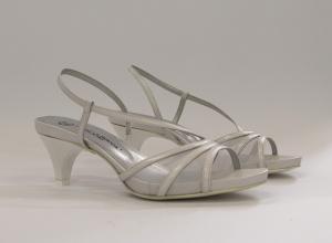 Sandalo cerimonia donna e sposa in pelle bianca con cinghietta Guido La Rocca Art.G958