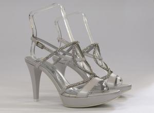 Sandalo cerimonia elegante donna e sposa in pelle e cristallo svarovsky con cinghietta regolabile Guido la Rocca Art.G950