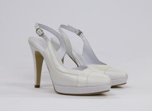 Sandalo donna elegante da sposa e cerimonia in pelle capretto panna naturale con cinghietta regolabile Elata cod.S2311