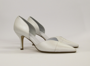 Scarpa donna elegante da sposa e cerimonia in pelle bianca  Elata cod.S2322/M