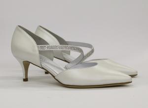 Scarpa donna elegante da sposa e cerimonia  in pelle con tacco basso e applicazioni in cristallo Elata cod.S2314/M