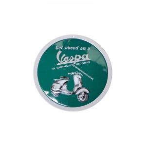 Locandina latta Vespa GET AHEAD. Rotonda. D.15 cm