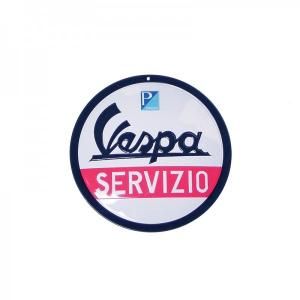 Locandina latta Vespa SERVIZIO. Rotonda. D.15 cm