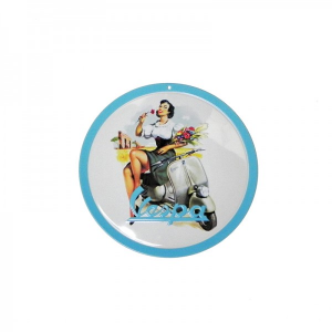 Locandina latta Vespa PIN-UP GIRL E FIORI. Rotonda. D.15 cm