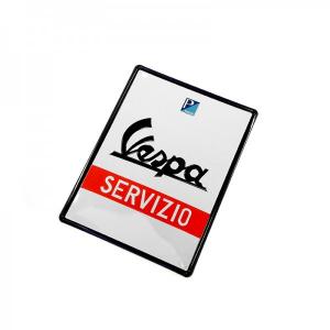 Locandina latta Vespa SERVIZIO. Rettangolare 30x40 cm