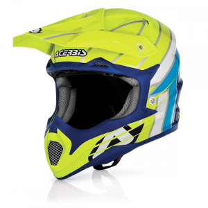 Casco cross ACERBIS in fibra IMPACT RAZORBLADE. Giallo/Blu. Tg. XL