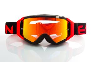 Maschera Ethen DIRT GOOGLES ZeroCinque MX0509 per Sport fuoristrada. Nero/Rosso Fluo