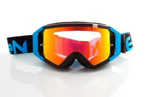 Maschera DIRT GOOGLES ZeroCinque MX0512 per Sport fuoristrada. Nero/Azzurro Fluo