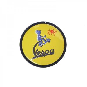 Locandina latta Vespa SOLE. Rotonda. D.15 cm