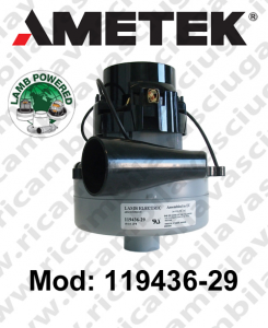 Motore tangenziale con invito aspirazione119436-29 Lamb Ametek per lavapavimenti