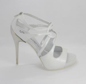Sandalo donna in pelle e pelle scamosciata con tacco acciaio Art. G1144