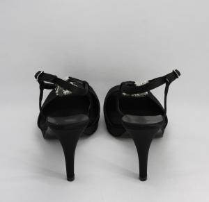 Sandalo donna elegante in tessuto di raso e cristalli color iridescente con cinghietta regolabile art. A71