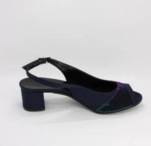 Sandalo donna cerimonia in tessuto raso con inserti tessuto effetto glitter con cinghietta regolabile Art. A159