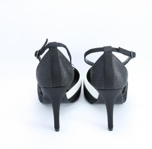 Scarpa donna bicolore tessuto avorio, nero e inserti gliter con cinghietta regolabile e borsa abbinata Art. BS250