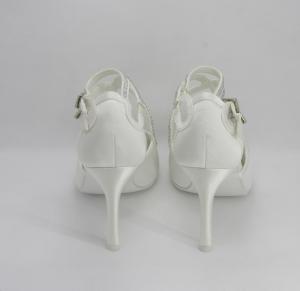 Scarpa donna elegante in raso avorio con cristalli e doppia cinghietta regolabile Art. H16625SARASF0200P102161