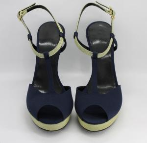 Sandalo donna elegante da cerimonia in tessuto di raso blu e inserti  tessuto oro glitter  con cinghietta regolabile  Art. Anna