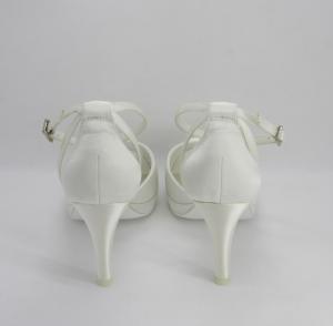 Scarpa sposa in tessuto avorio con cinghietta regolabile Art. H15227SARA1F0200P082161