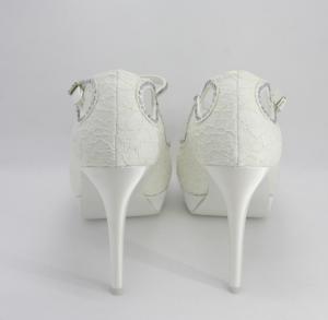Sandalo elegante donna  sposa cerimonia in tessuto e pizzo con cristalli e cinghietta regolabile Art. H15510