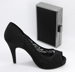 Scarpa Décolleté elegante donna in pizzo con pochette abbinata Art. BS300