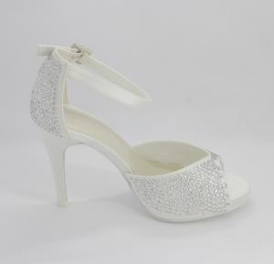 Scarpa elegante cerimonia donna e sposa con applicazione cristalli ecinghietta regolabile Art. H16627