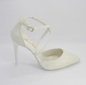 Scarpa elegante sposa in tessuto pizzo con cinghietta incrociata regolabile art. 285