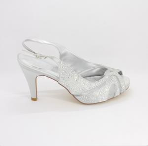 Sandalo cerimonia donna elegante in tessuto argento con applicazione in cristalli e cinghietta regolabile Art. H1510PTRASF1200P08