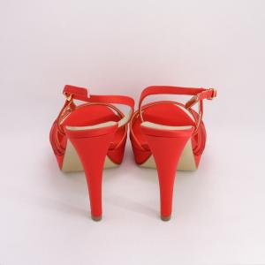 Sandalo cerimonia donna elegante in tessuto di raso rosso con applicazione in cristalli e cinghietta regolabile Art. 1013