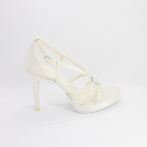 Sandalo cerimonia donna, sposa elegante in tessuto con applicazione cristalli e cinghietta regolabile Annabella Art. 225
