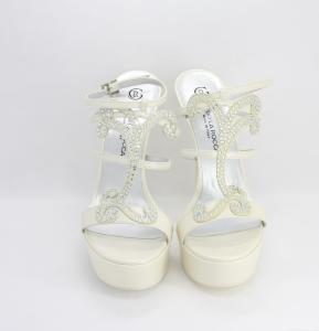 Sandalo cerimonia donna elegante da sposa in pelle con applicazione in cristallo svarovsky e cinghietta regolabile Guido La Rocca Art. G1173