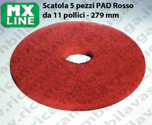 PAD MAXICLEAN 5 PEZZI color Rosso da 11 pollici - 279 mm | MX LINE