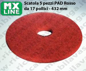 PAD MAXICLEAN 5 PEZZI color Rosso da 17 pollici - 432 mm | MX LINE