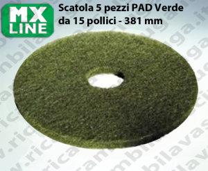 PAD MAXICLEAN 5 PEZZI color Verde da 15 pollici - 381 mm | MX LINE