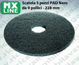 PAD MAXICLEAN 5 PEZZI color Nero da 9 pollici - 228 mm | MX LINE