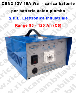 Carica batterie Mod: CBN2 12V 15A Wa per batterie acido piombo S.P.E.