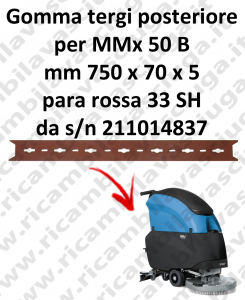 MMx 50 B Gomma tergipavimento posteriore X lavapavimenti FIMAP  s/n211014837
