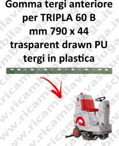 TRIPLA 60 B GOMMA TERGIPAVIMENTO anteriore per COMAC ricambio lavapavimenti squeegee