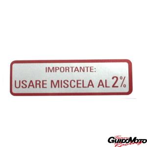 ADESIVO USARE MISCELA AL 2% VESPA PIAGGIO GMV0063