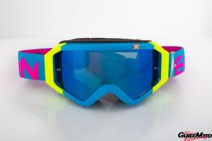 Maschera DIRT GOOGLES ZeroCinque TOP MX0533 per fuoristrada. Azzurro/giallo/rosa