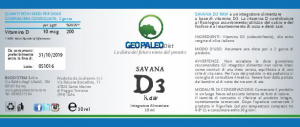Savana D3 Raw - VITAMIN D - 240.000 UI Flaschen in extra Virgin Olivenöl BIO