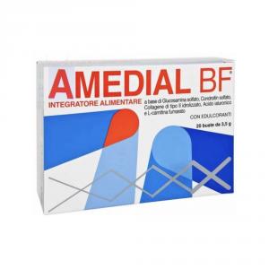 AMEDIAL BF 20 BUSTINE INTEGRATORE ALIMENTARE A BASE DI CONDROITIN, GLUCOSAMINA, ACIDO IALURONICO UTILE PER DOLORI ARTICOLARI