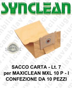 SACCHETTI CARTA litri 7 per ASPIRAPOLVERE MAXICLEAN mod. MXL 10 P - confezione 10 pezzi