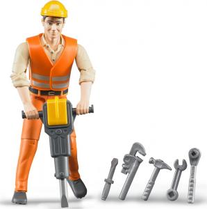 BRUDER CONSTRUCTION EORKER WITH ACC. 60020 BRUDER