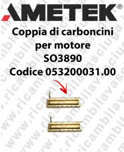 COPPIA di Carboncini Motore aspirazione per motore  Ametek SO3890 2 x Cod: 053200031.00
