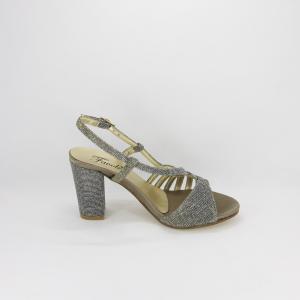 Sandalo donna elegante da cerimonia in tessuto glitter bronzo con cinghietta regolabile  Art. A488 Gi. Effe Ci.
