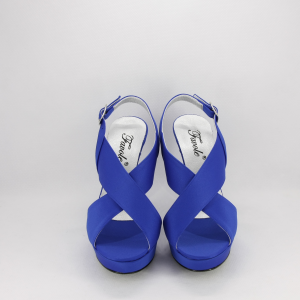 Sandalo donna elegante da cerimonia in tessuto di raso blu con cinghietta regolabile  Art. FABIANA  Gi.Effe Ci.